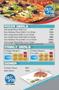 20-20 Pizza & Burger deals menu