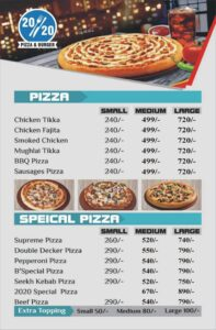 20-20 Pizza & Burger menu card