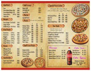 Jet Pizza palace main course menu