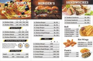 The pizza stop menu card