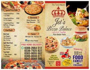 jet Pizza Palace Faisalabad menu card