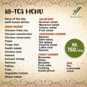 Green Olives Hi-Tea Menu Card