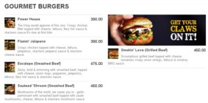 Stackers Burger Cafe Menu 1
