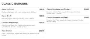 Stackers Burger Cafe Menu