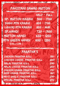 The Thali Restaurant Complete Menu 1