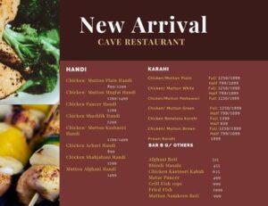 Cave Restaurant Menu Prices 1