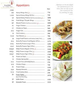 Taipei Chinese Restaurant Menu 1