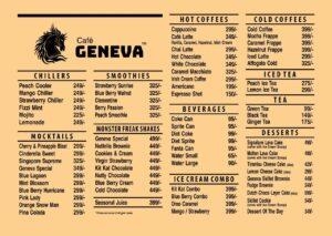 Café Geneva Faisalabad Menu