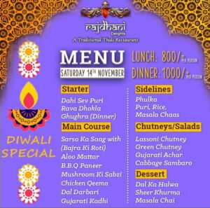 Rajdhani Delights Menu Prices 2