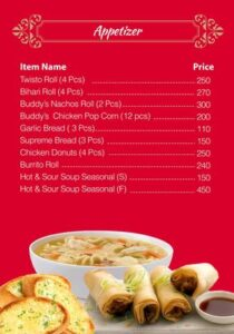 Buddys Kitchen Menu Prices 1
