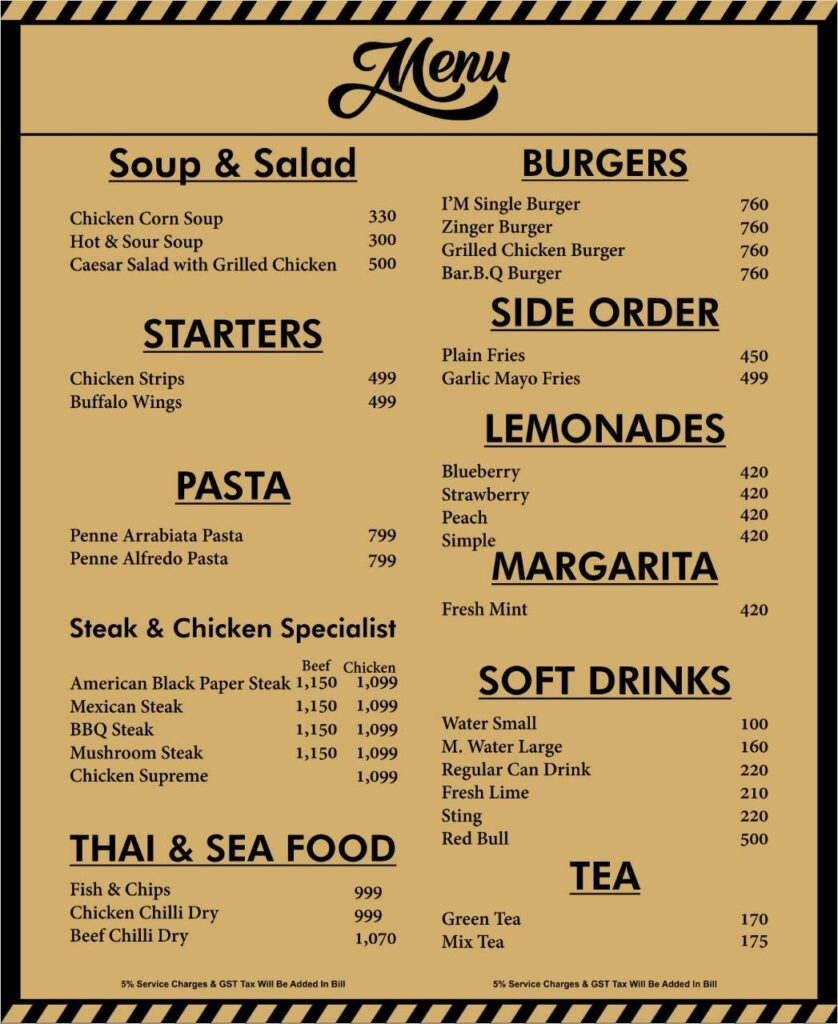 Black Rock Cafe Islamabad Menu