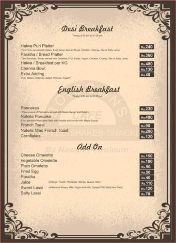 Boissons Café Menu Prices 1