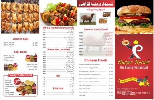 Burger Corner Garhi Shahu Menu