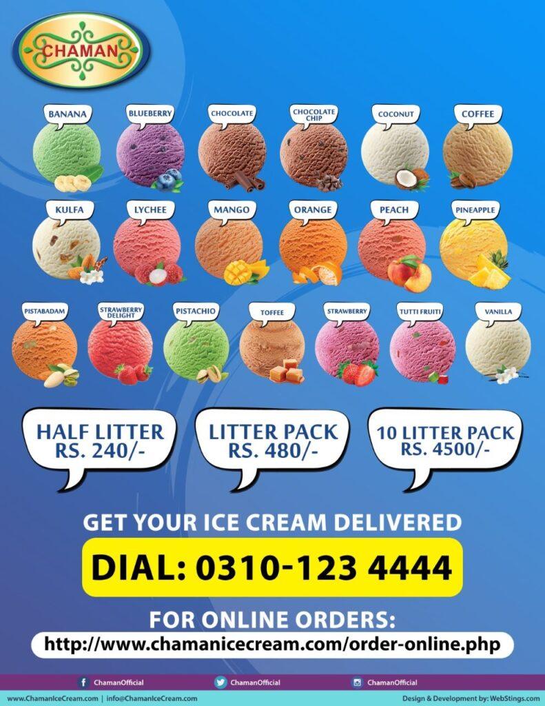 Chaman Ice Cream Lahore Price List