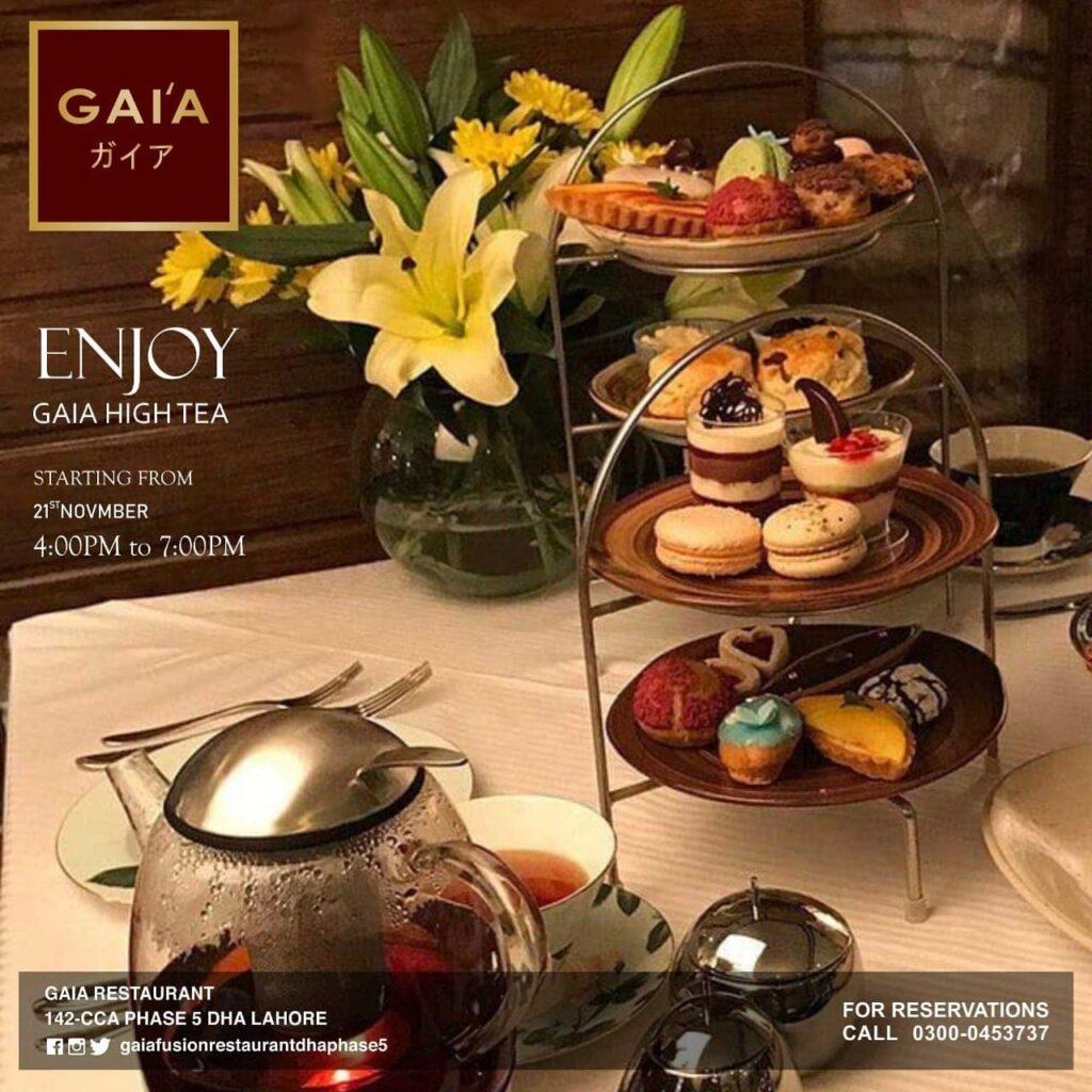 Gaia Restaurant Lahore Hi Tea Menu