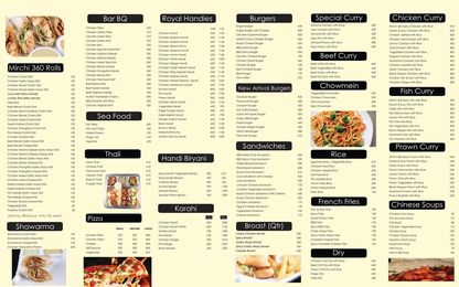 Mirchi 360 Defence Hyderabad Menu Prices 2