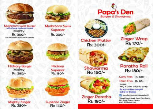 Papas Den Menu