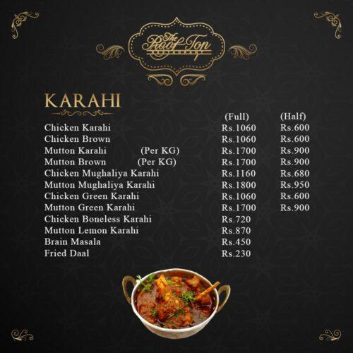 Rooftop Restaurant Hyderabad Karahi Menu