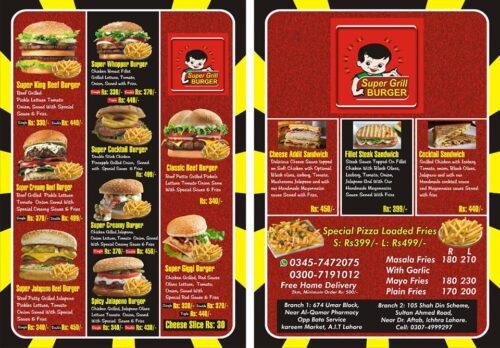 Super Grill Burger Iqbal Town Menu