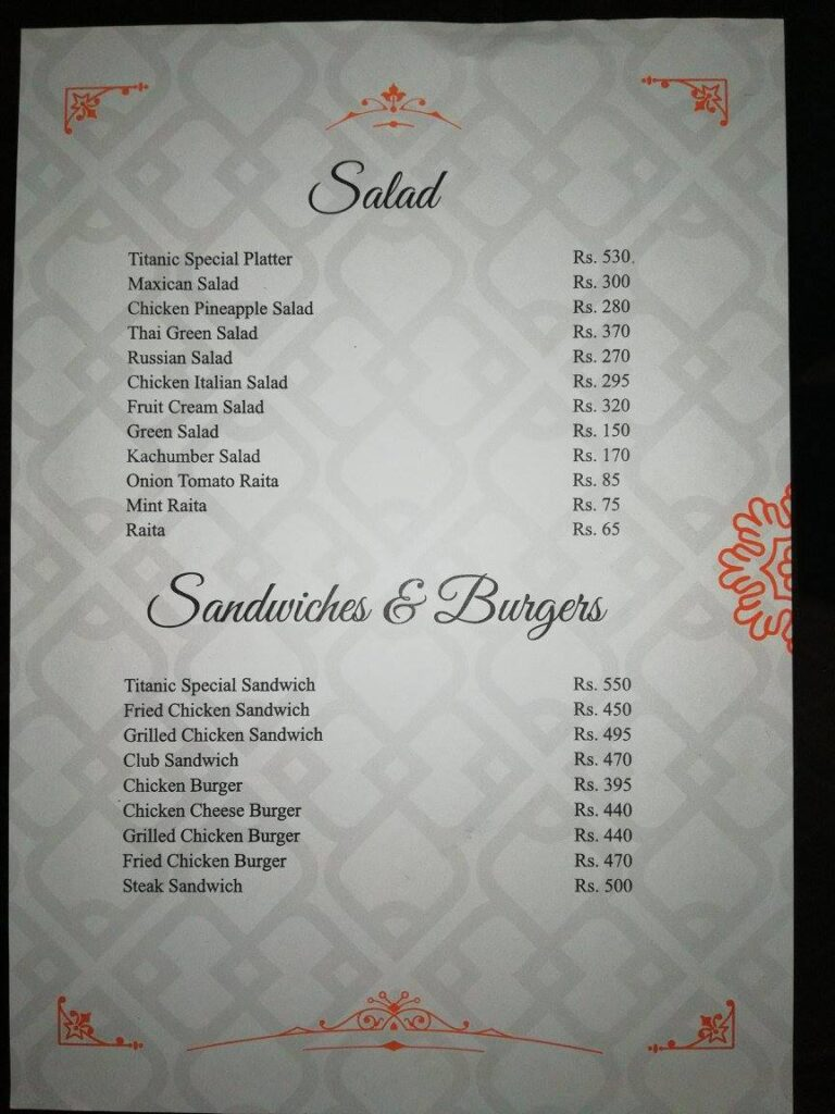 Titanic Resort Faisalabad Menu 3