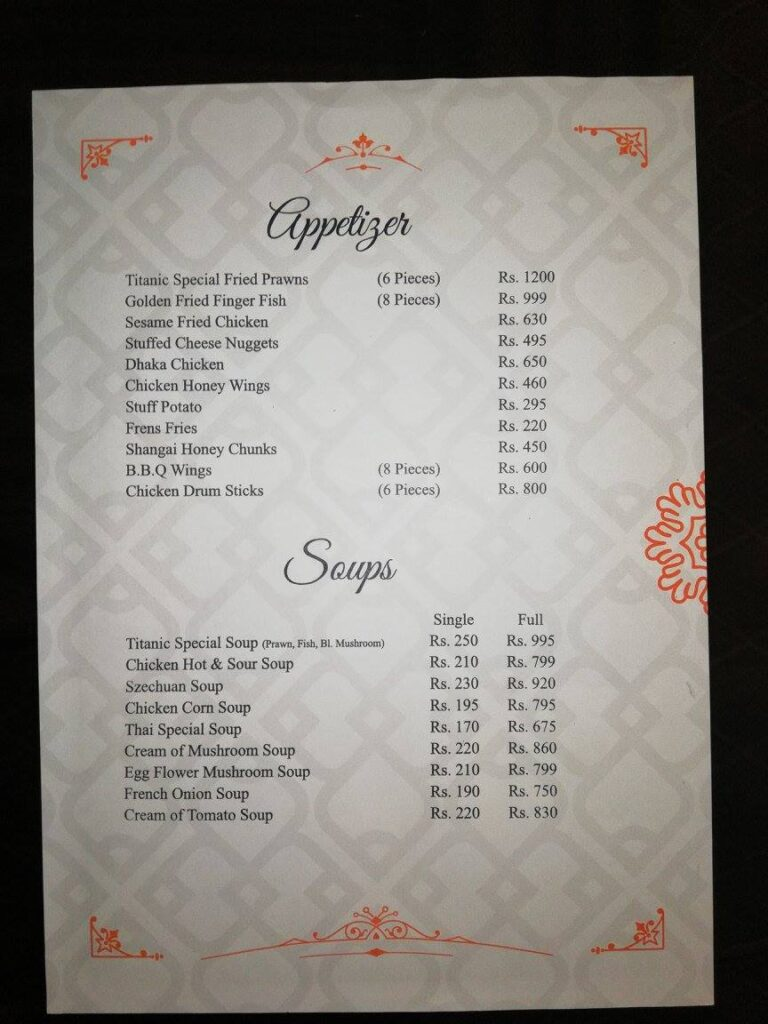 Titanic Resort Faisalabad Menu 4
