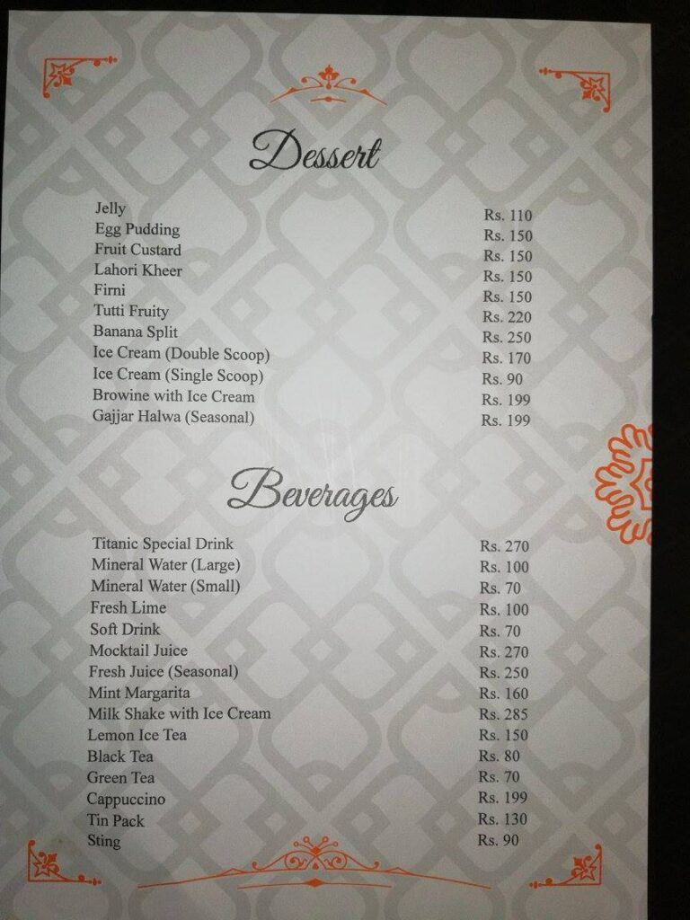 Titanic Resort Faisalabad Menu 6