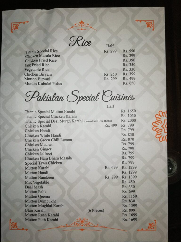 Titanic Resort Faisalabad Menu