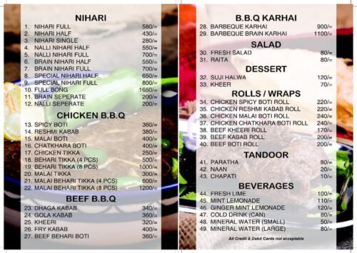 Waheed Kabab House Menu Prices