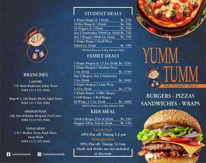 Yumm in Tumm Menu 1