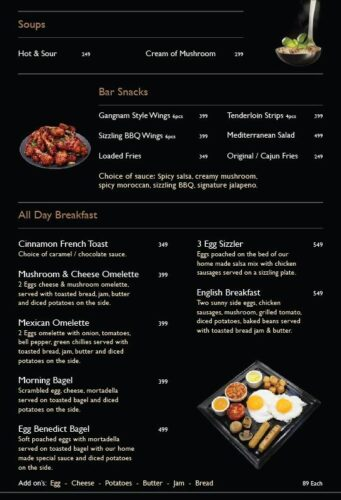 Chaplin Modern Eatery Breakfast Menu