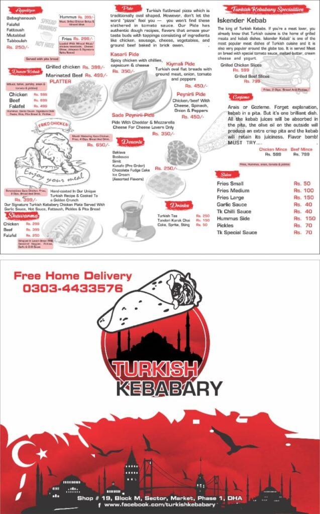 Turkish Kebabary Lahore Menu